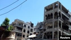 Humus'ta çatışmalarda tahrip olan binalar