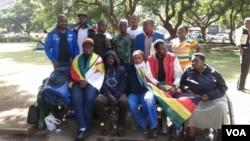 FILE - Some of the protesters camping at Africa Unity Square in Harare.