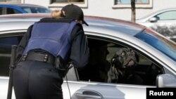 Украниский полицейский опрашивает водителя