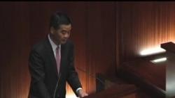 2013-01-16 美國之音視頻新聞: 梁振英發表施政報告﹐場外抗議聲高