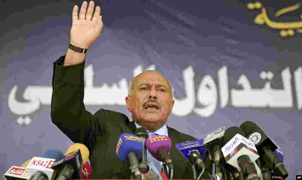 March 10, 2011: Yemeni President Ali Abdullah Saleh speaks to supporters during a gathering in Sanaa.