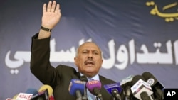 FILE - Yemeni President Ali Abdullah Saleh speaks to supporters during a gathering in Sanaa, March 2011