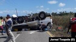Acidente na estrada da praia da Zalala, província da Zambézia