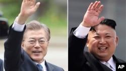 南韓總統文在寅(左),北韓領導人金正恩(右)