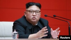 FILE - North Korean leader Kim Jong Un takes part in the 4th Plenary Meeting of the 7th Central Committee of the Workers' Party of Korea in Pyongyang, April 10, 2019.