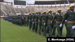 FILE: Members of the Zimbabwe National Army rehearse, April 16, 2019, for this Thursday's Independence Day celebrations in Harare.