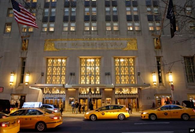 纽约著名的华尔道夫酒店。(2017年2月28日)