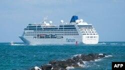 Tàu du lịch Adonia khởi hành từ Miami, Florida, trên cuộc hành trình lịch sử tới Cuba, ngày 1/5/2016.
