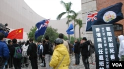 香港自由行大陸客 遇贊成及反對者 隔街對罵