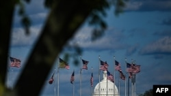 FILE - The dome of the US Capitol building is seen behind a row of US flags on April 10, 2020, in Washington, DC.