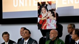 Pakistani President Asif Ali Zardari, center left, addresses a high-level meeting on Polio eradication at the 67th session of the General Assembly at United Nations Headquarters, in New York, Sept. 27, 2012.