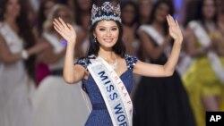 La ganadora del título Miss Mundo 2012, Wenxia Yu, es una maestra de música de 23 años de edad.