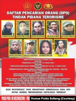 Daftar Pencarian Orang (DPO) Tindak Pidana Terorisme yang memuat foto dan identitasi sembilan anggota Kelompok MIT.(Foto: Courtesy/Humas Polda Sulteng)