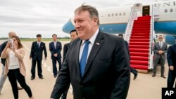 U.S. Secretary of State Mike Pompeo arrives at Sunan International Airport in Pyongyang, North Korea, Friday, July 6, 2018.