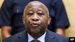 FILE - Laurent Gbagbo, ex-president of Ivory Coast, stands trial for his alleged role in the civil war at the International Criminal Court in The Hague, Netherlands, Feb. 19, 2013.
