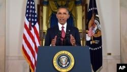 """美國總統奧巴馬9月10日在白宮宣布打擊在伊拉克和敘利亞的激進組織""""伊斯蘭國""""(ISIS)的策略。"""