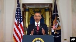 美国总统奥巴马星期三晚上发表电视讲话