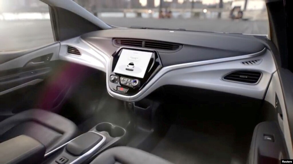 FILE - GM's planned Cruise AV driverless car features no steering wheel or pedals in this