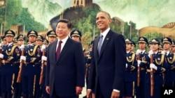 中国国家主席习近平(左)和美国总统奥巴马(右)