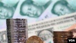 Mata uang Tiongkok, Yuan dan dolar Amerika.