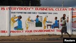 Bảng hướng dẫn điều trị virút Ebola ở Monrovia, ngày 18/11/2014.