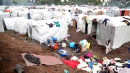 A picture released by Medecins Sans Frontieres (Doctors without borders, MSF) shows refugees at the Kanuyaruchinya IDP camp, November 4, 2012.