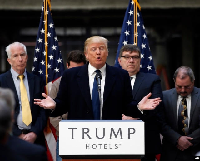 FILE - Republican presidential candidate Donald Trump speaks during a campaign event in the atrium of the Old Post Office Pavilion, in Washington, soon to be a Trump International Hotel, March 21, 2016.