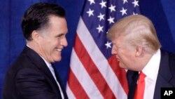 Donald Trump 2012 seçimlerinde Cumhuriyetçi Parti'den başkan adayı olan Mitt Romney'e destek vermişti. Ancak Romney dört yıl sonra başkanlığa aday olan Trump'a oy verilmemesi çağrısı yapmıştı.
