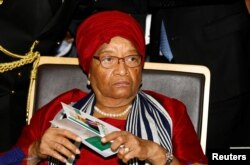 FILE - Ellen Johnson Sirleaf attends the 28th Ordinary Session of the Assembly of the Heads of State and the Government of the African Union in Ethiopia's capital Addis Ababa, Jan. 30, 2017.