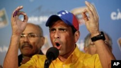 Opposition presidential candidate Henrique Capriles after official results of presidential elections are announced, Caracas, Venezuela, April 15, 2013.
