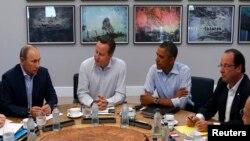 Владимир Путин, Дэвид Кэмерон, Барак Обама и Франсуа Олланд. Северная Ирландия. 18 июня 2013 г.