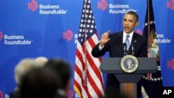 President Barack Obama speaks to members of the Business Roundtable, a trade group representing America's largest corporation, in Washington, Sept. 18, 2013.