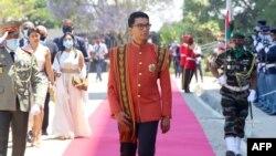 Le président de la République de Madagascar Andry Rajoelina arrive au Palais de la Reine de Manjakamiadana, à Antananarivo, le 6 novembre 2020.