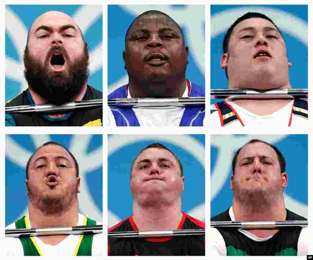 Competitors in men's over 105-kg weightlifting. From top left, Damon Kelly of Australia, Frederic Fokejou Tefot of Cameroon, Kazuomi Ota of Japan. Second row, Fernando Saraiva Reis of Brazil, Yauheni Zharnasek of Belarus and Peter Nagy of Hungary.