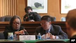 中國著名愛滋病維權人士高耀潔在美國國會作證資料照。