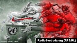 Політична карикатура Олексія Кустовського. До очікуваного виступу президента Росії Володимира Путіна на сесії Генасамблеї ООН