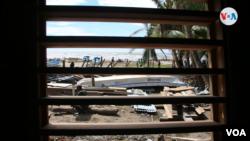 Vista desde una vivienda destruida por el huracán Eta en la Costa Caribe de Nicaragua. Foto Houston Castillo, VOA.