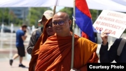 FILE PHOTO - Activist monk Bor Bet fled Cambodia to Thailand after fearing arrest for his participation in protests to free unionist Rong Chhun. (Courtesy photo)