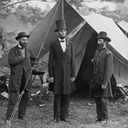 President Abraham Lincoln, center, in Maryland after the Battle of Antietam in 1862