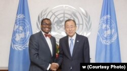 African Development Bank President Akinwumi Adesina, recipient of the 2017 World Food Prize, shakes hands with former U.N. Secretary-General Ban Ki-moon.