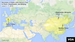 John Kerry will travel to Paris, Ulaanbaatar, and Beijing, June 2-7.