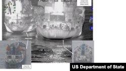 미국 국무부가 지난 10월 유엔 제재를 위반한 대북 불법 환적 장면이라며 공개한 사진. 앞선 5월 18일 동중국해에서 파나마 선적인 샹유안바오호가 유엔 안보리 제재 대상인 북한 백마호에 유류를 옮겨 싣고 있다.