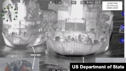 미국 국무부는 지난해 5월 동중국해상에서 파나마 선적 샹위안바오호(오른쪽)와 북한 백마호 사이의 불법 환적을 포착한 사진을 공개했다.
