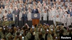 U.S. President Barack Obama addresses U.S. military personnel at U.S. military base Yongsan Garrison in Seoul, South Korea, April 26, 2014.