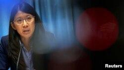La presidenta de Médicos Sin Fronteras, Joanne Liu, habla durante conferencia de prensa en Ginebra.