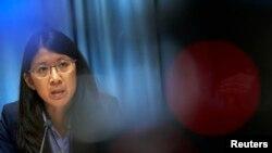 '국경없는의사회' 조앤 리우 회장이 7일 스위스 제네바에서 기자회견을 열고, 아프가니스탄 병원 공습에 대한 국제조사위원회의 조사를 요구하고 있다.
