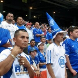Two of the Salvadoran Fans cheering on their team which lost to Panama in a shootout