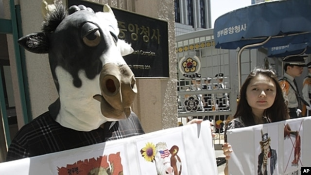 South Korean animal rights activists stage a campaign against import of U.S. beef in front of the government complex in Seoul, South Korea, May 2, 2012.
