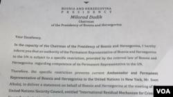 Pismo Milorada Dodika upućeno predsjedavajućem Vijeća sigurnosti UN-a