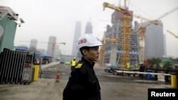 지난 26일 중국 베이징 경제중심지구 건설 현장. (자료사진)
